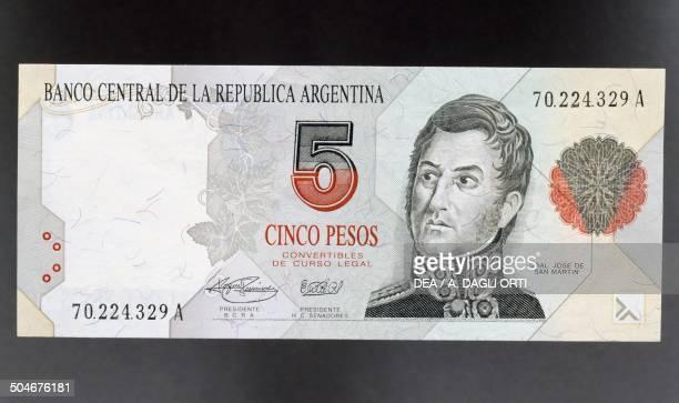 5 pesos banknote 19901999 obverse Jose Francisco de San Martin y Matorras Argentina 20th century