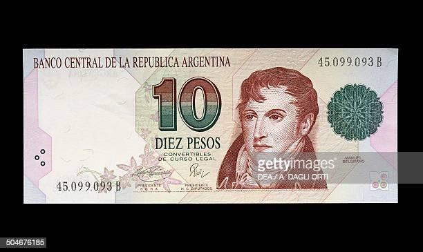 Pesos banknote, 1990-1999, obverse, Manuel Belgrano . Argentina, 20th century.