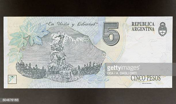 Pesos banknote, 1990-1999, reverse, the Hill of Glory in Mendoza. Argentina, 20th century.