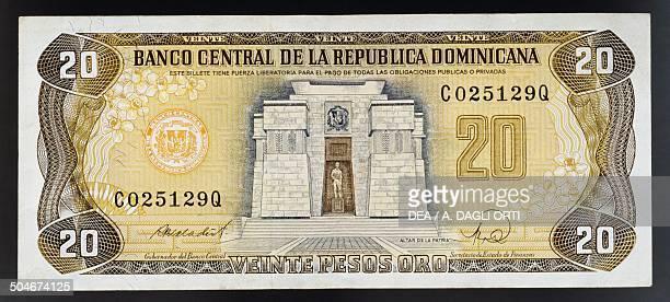 Pesos oro banknote, 1990-1999, obverse, Altar de la Patria in Santo Domingo. Dominican Republic, 20th century.