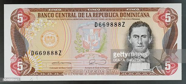 5 pesos oro banknote 19901999 obverse Juan Sanchez Ramirez Dominican Republic 20th century