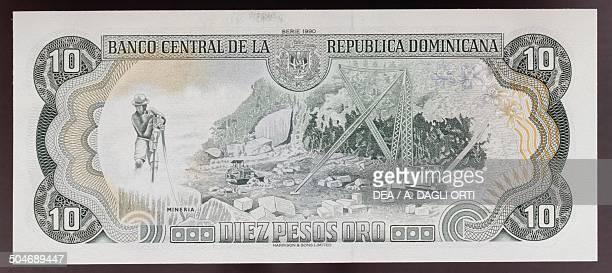 Pesos oro banknote, 1990-1999, reverse, mine. Dominican Republic, 20th century.