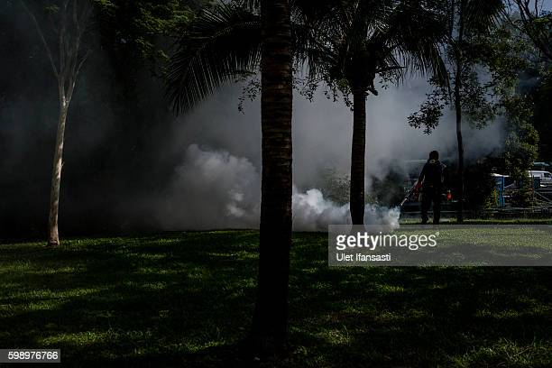 A pest control worker fumigates the grounds of a apartment block in Aljunied on September 3 2016 in Singapore Singapore raised the number of Zika...
