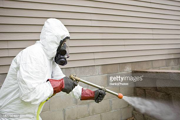 Pest Control Worker Spraying Insecticide near a Home