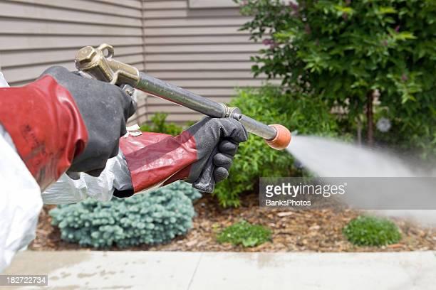 Operaio controllo degli infestanti spray insetticida