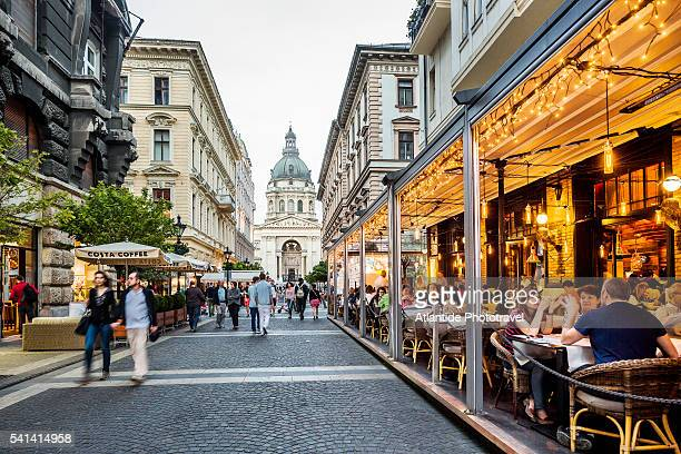 Pest, Lipotvaros, restaurants in Zrinyi Utca (street), on the background St. Stephen's Basilica