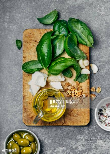 pesto sauce ingredients - basil stock pictures, royalty-free photos & images