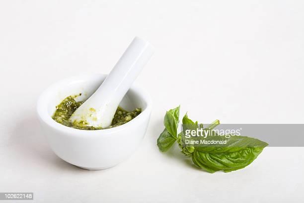 Pesto sauce with  fresh basil leaves