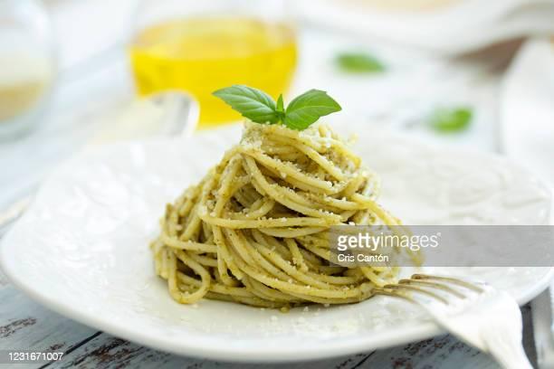 pesto spaghetti - pesto stock pictures, royalty-free photos & images