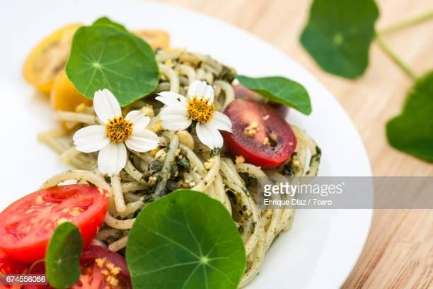 Pesto Spaghetti with Cosmos and Nasturtiums
