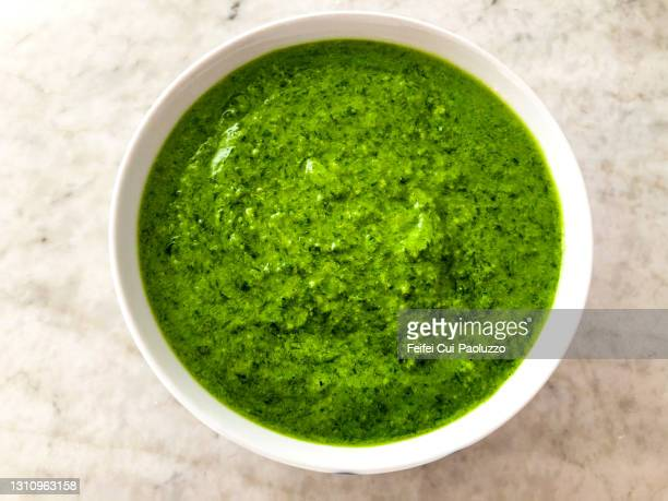 pesto with wood garlic - pesto stock pictures, royalty-free photos & images