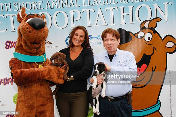 Pet Ambassador ScoobyDoo HGTV Personality Tanya Marchiol and Noth Shore Animal League America President John Stevenson attend the 2012 Pet Adoptathon...
