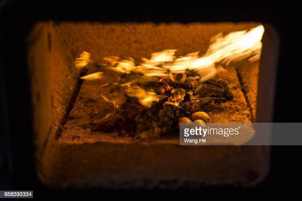 Pet dog Xiaoxiao in incinerator Cremation on March 27 2017 in Wuhan Hubei province China Wangzai Pet Service Company is a service company that offers...