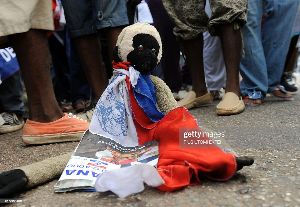 A pet dressed in the opposition New Patriotic Party colours during a rally at Takoradi in Ghana's central region December 2, 2012. Ghanaians will go to polls for the sixth time to elect a new president among eight candidates vying for the seat of government, or re-elect the incumbent President John Mahama on December 7.