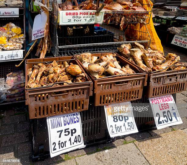 Pet foods stall in a market