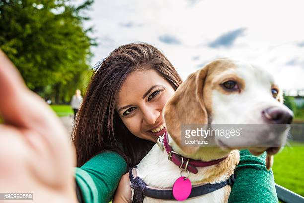 Pet owner and her dog taking a selfie