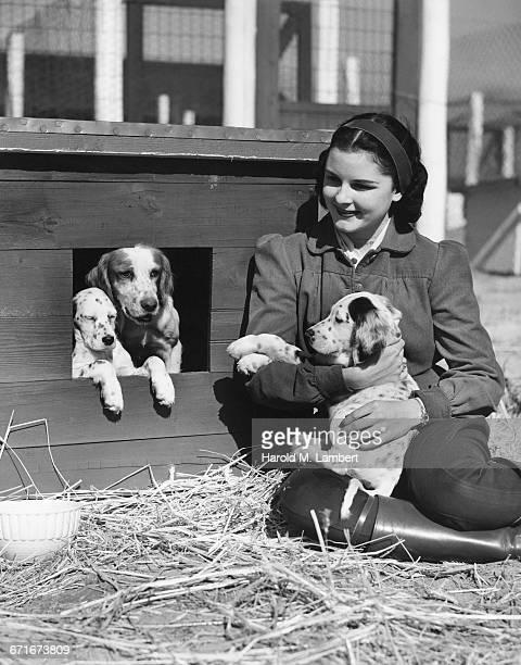 pet owner sitting near doghouse with dogs - mamífero con garras fotografías e imágenes de stock