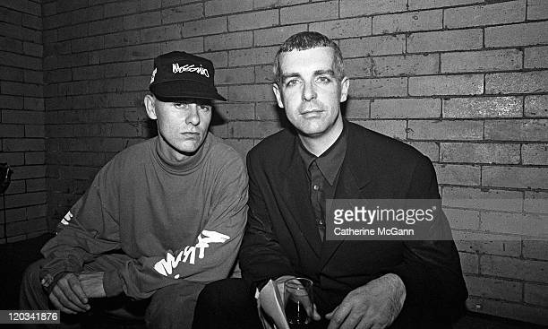 Pet Shop Boys Neil Tennant and Chris Lowe pose for a photo in April 1991 in New York City New York