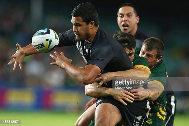 Peta Hiku of the Kiwis loses the ball as he is tackled during the ANZAC Test match between the Australian Kangaroos and the New Zealand Kiwis at...
