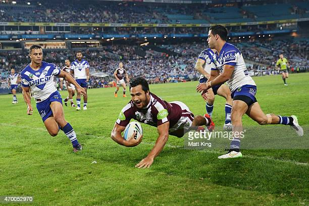 Peta Hiku of the Sea Eagles scores a try during the round seven NRL match between the Canterbury Bulldogs and the Manly Warringah Sea Eagles at ANZ...
