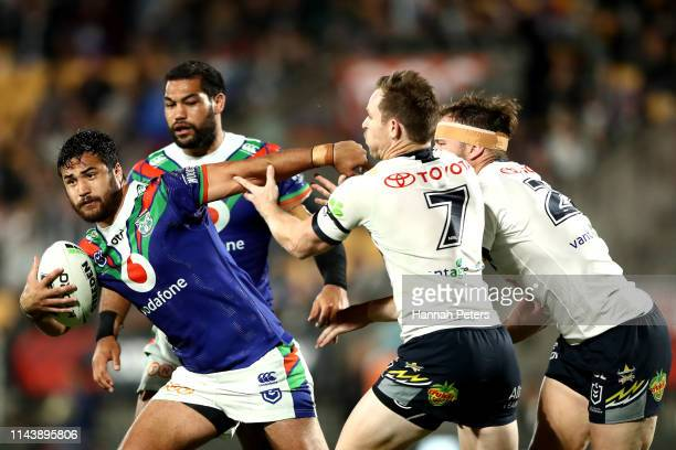 Peta Hiku of the Warriors makes a break during the round 6 NRL match between the Warriors and the Cowboys at Mt Smart Stadium on April 20 2019 in...