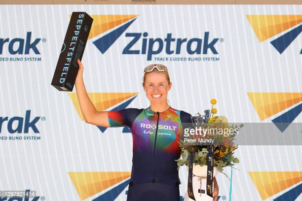 Peta Mullens of Team Roxsolt Liv Sram wins the Womens Ziptrak Stage 1 from Seppeltsfield to Tanunda of the Santos Festival of Cycling on January 21,...