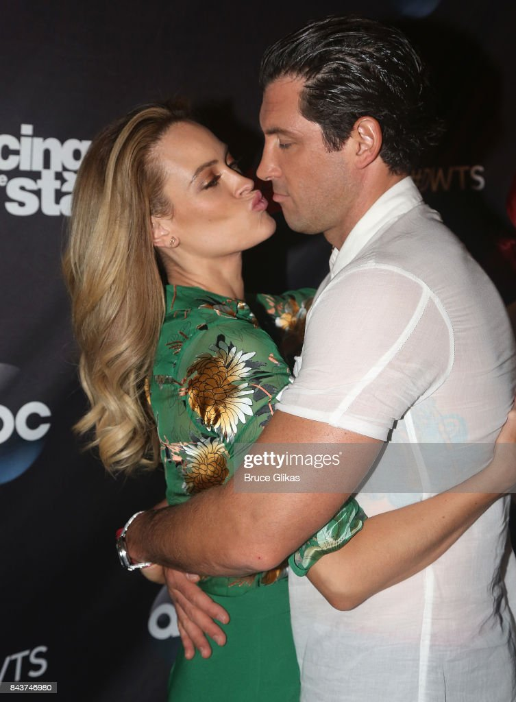 Peta Murgatroyd and Maks Chmerkovskiy pose at ABC's 'Dancing with the Stars' Season 5 cast announcement event at Planet Hollywood Times Square on September 6, 2017 in New York City.