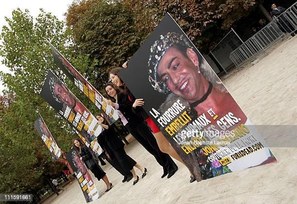 Peta Protestors during Paris Fashion Week - Ready to Wear Spring/Summer 2005 - Peta Protests at Dior Fashion Show at Espace Ephemere in Paris, France.