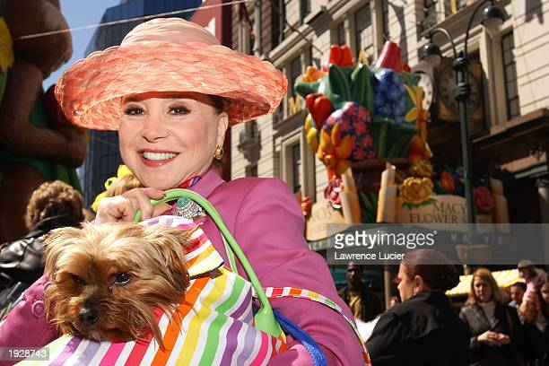 Petacular pageant judge Cindy Adams and her dog Jazzy appear at the 7th Annual Petacular at Macy's Herald Square April 13 2003 in New York City