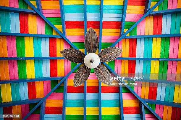 petal-shaped fan on multi-coloured wooden ceiling - アンティル諸島 ストックフォトと画像