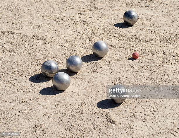 petanque with balls in the sand - ブール ストックフォトと画像