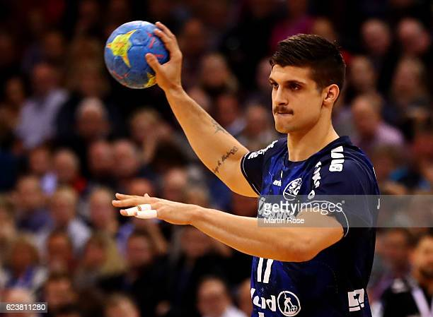 Petar Djordjic of Flensburg in action during the DKB HBL Bundesliga match between SG FlensburgHandewitt and HBW BalingenWeilstetten at FlensArena on...