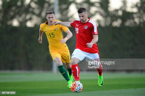 Petar Gluhakovic Ajdin Hrustic during the friendly match of national teams U21 of Austria vs Australia in Pinatar Arena Murcia SPAIN March 24rd 2017