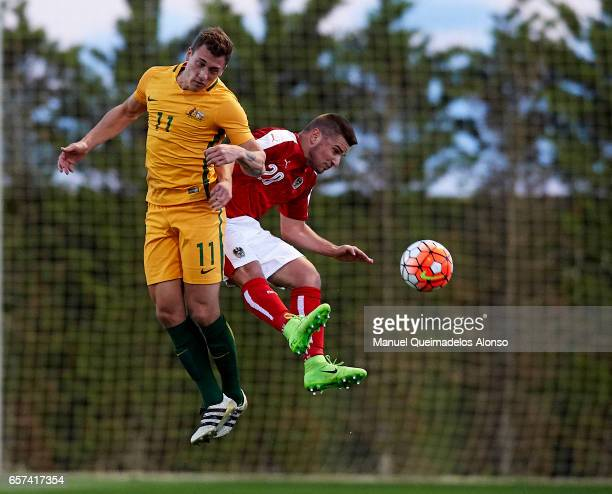 Petar Gluhakovic of Austria competes for the ball with Alex Gersbach of Australia during the international friendly match between Austria U21 and...