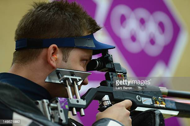 Petar Gorsar of Croatia competes in the Men's 10m Air Rifle qualification on Day 3 of the London 2012 Olympic Games at The Royal Artillery Barracks...