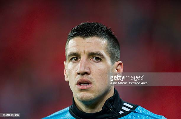 Petar Grbic of FK Partizan looks on prior to the start the UEFA Europa League match between Athletic Club and FK Partizan at San Mames Stadium on...