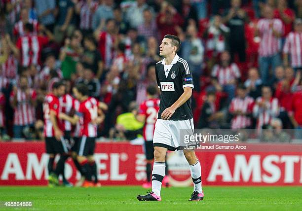 Petar Grbic of FK Partizan reacts during the UEFA Europa League match between Athletic Club and FK Partizan at San Mames Stadium on November 5 2015...