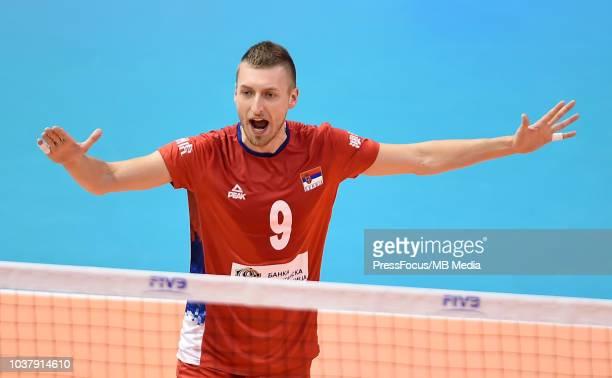 Petar Krsmanovic L Serbia play the balla gainst Argentina during Serbia v Argentina pool H during 2018 FIVB Volleyball Men's World Championship...