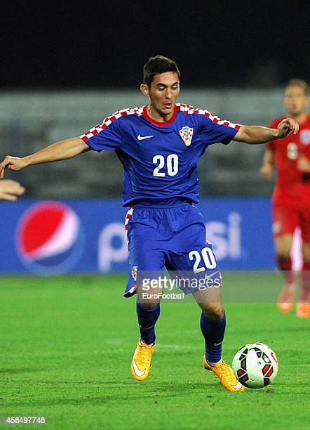 Petar Misic of Croatia in action during the UEFA U21 Championship Playoff Second Leg match between Croatia and England at the Stadion Hnk Cibalia on...