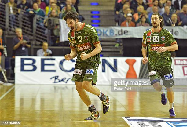 Petar Nenadic of Fuechse Berlin celebrates his goal during the game between Fuechse Berlin and GWD Minden on february 11, 2015 in Berlin, Germany.