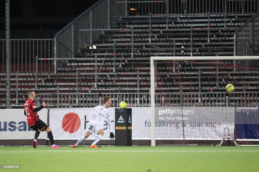 Petar Petrovic of IF Brommapojkarna scores the decisive goal to 2-0 during the Allsvenskan match between IF Brommapojkarna and BK Hacken at Grimsta IP on April 9, 2018 in Stockholm, Sweden.