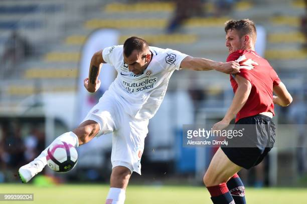 Petar Skuletic of Montpellier and Julien Laporte of Clermont during the Friendly match between Montpellier and Clermont Ferrand on July 14 2018 in...