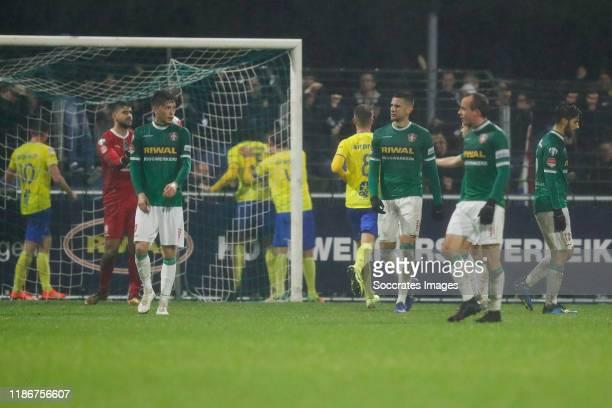 Petar Stoskovic of FC Dordrecht, Jordy Wehrmann of FC Dordrecht, Dylan de Braal of FC Dordrecht, Stef Gronsveld of FC Dordrecht during the Dutch...