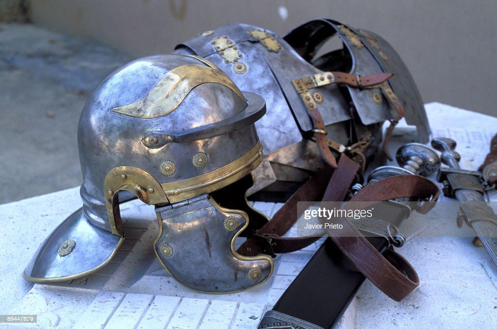 Petavonium. Roman armour. Roman camp of Petavonium. Rosinos de Vidriales. Benavente Valley.. Zamora. : News Photo