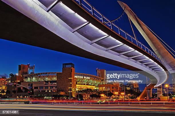 petco park & pedestrian bridge - baseball trajectory stock photos and pictures