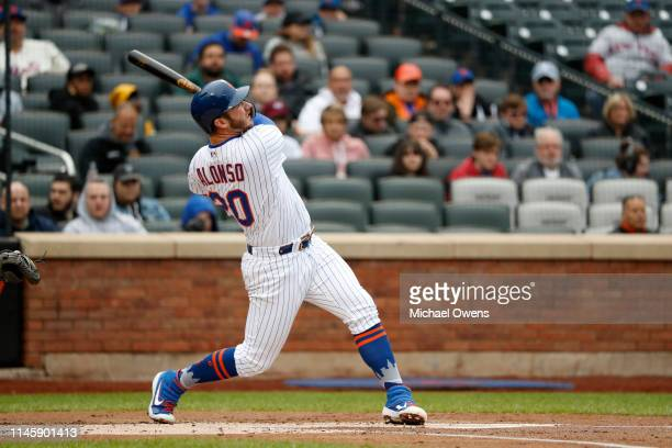 Pete Alonso of the New York Mets at bat during a game against the Milwaukee Brewers at Citi Field on April 28 2019 in the Flushing neighborhood of...