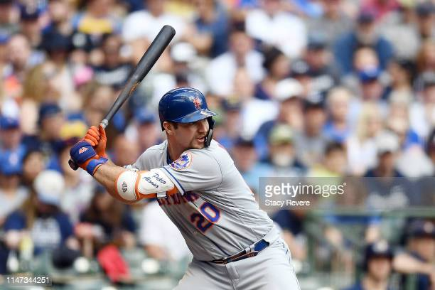 Pete Alonso of the New York Mets at bat during a game against the Milwaukee Brewers at Miller Park on May 05 2019 in Milwaukee Wisconsin