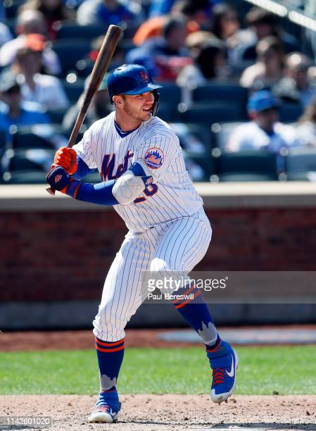 Pete Alonso of the New York Mets bats during an MLB baseball game against the Washington Nationals on April 6 2019 at Citi Field in the Queens...