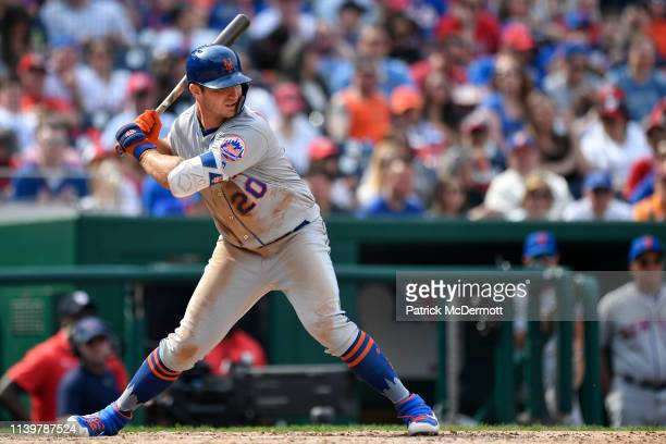 Pete Alonso of the New York Mets bats in the seventh inning against the Washington Nationals at Nationals Park on March 30 2019 in Washington DC