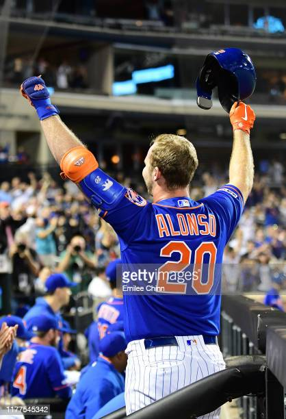 Pete Alonso of the New York Mets celebrates after hitting a home run in the first inning of their game against the Atlanta Braves his 52nd home run...
